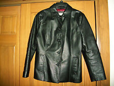 Women's Croft & Barrow Black 100% Leather Jacket/Coat size MED w/Quilted Lining