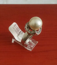 92.5 STERLING SILVER PEARL WHITE MARCASITE RING SIZE 7.5 - ARGENT CREATIONS