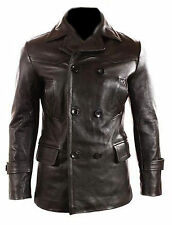 German Submariner WW2 Vintage Men's Cowhide Black Leather Jacket/Coat