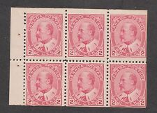 Canada No. 90b, 2c carmine Edward VII booklet pane.  Fine, with glazed gum.