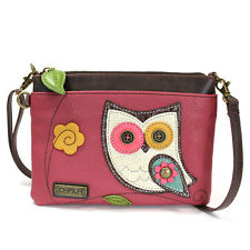 Chala Vegan Leather Mini Crossbody Phone Purse with 2 Straps (Owl) + i-RING Gold