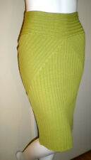 SLIMMING! ShapeFX NewportNews Knee-Length Pencil Skirt Rib Knit L Pear Green NWT