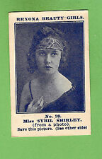 #D43.  1921 REXONA SOAP BEAUTY GIRLS CARD #30 - MISS SYBIL SHIRLEY