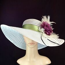 Womens Kentucky Derby WHITE Hat With Purple rose Feathers Wide Brim Wedding USA