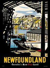 Newfoundland Canada's New-fun-land Canada Canadian Travel Advertisement Poster