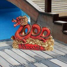 ASIAN DRAGON WELCOME STATUE DESIGN TOSCANO asian  zen  dragon  buddha  garden