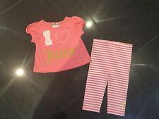 Juicy Couture New & Autentico Cotone Pesca 2 Pezzi Bambina 6/12 MESI Con Logo