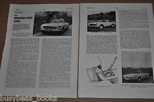 1965 MERCEDES BENZ 230SL article from British magazine, 230 SL road test