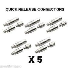 5 x QUICK RELEASE CONNECTORS, CARP COARSE MATCH FISHING BANK STICKS KEEP NETS