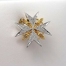 NEW 18K 2 TONE GOLD PAVE DIAMOND ORDERS OF CHIVALRY FRANCE MALTESE CROSS PENDANT