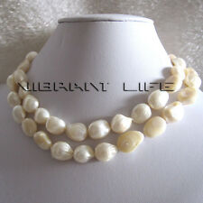 "32"" 10-12mm White Baroque Freshwater Mother of Pearl Necklace Jewelry U"