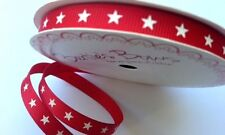 5m Bertie's Bows 9mm White Stars on Red Grosgrain Ribbon, Gift Wrap, Christmas
