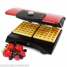 Andrew James Belgian Waffle Maker Iron Machine In Red