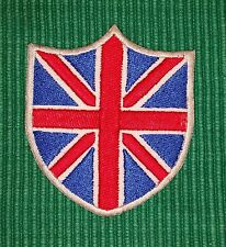 British Flag Union Jack Shield Red- Blue & White Iron/ Sew-on Embroidered Patch