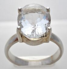 Sterling Silver Tanzanian White Zircon Ring Size 9 Oval 5 Ct TGGC Clear Jewelry