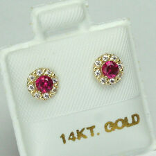 14K solid yellow gold round shape white Topaz & Red Ruby screw back earrings