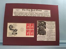 Amelia Earhart flies across the Atlantic Ocean & First Day Cover of her stamp