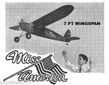 "Model Airplane Plans (FF): MISS AMERICA 84"" OT for .60 by Frank Zaic (1935)"