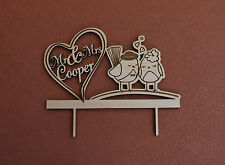 wood wedding cake topper / love birds / personalized wood / Mr & Mrs cake topper