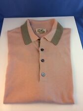NEW MENS HERMES PARIS COTON PINK / GREY 4BTN GOLF POLO SHORT SHIRT  SIZE - 2XL
