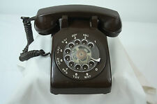 Working Vintage Telephone Northern Telecom Rotary Dial Chocolate Brown Rings ITT