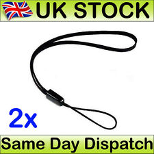 2 x Hand Wrist Strap Lanyard For MP3 MP4 Camera Mobile Phone USB Black 15 cm