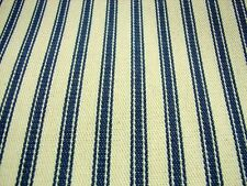 Blue Cream Cotton French Ticking Fabric 214cm Per Metre --SUPER WIDE