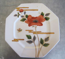Fitz and Floyd Fleur et Nugges 10 inch dinner plate Poppies, butterfly gold trim