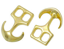 Anchor Hook Clasps for Leather Cord Jewellery Making Gold Tone Metal x 5