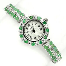 925 plata esterlina genuino Natural Verde Esmeralda dos fila Reloj 7.5 pulgadas