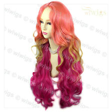Stunning Long Pink & Purple red Ladies Wigs Skin Top Wavy Cosplay Wig WIWIGS UK