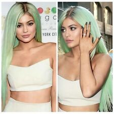 Natural Celebrity Kardashian Kylie Jenner Teal Green Ombre Root Lace Wig