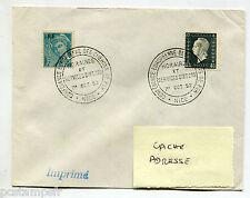 FRANCE, timbres 660 et 696, SUR LETTRE, cachet C. E. CHEMIN DE FER, 1.10.52