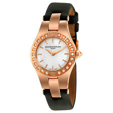 Baume and Mercier Linea Mother of Pearl Dial 18kt Rose Gold Black Satin Ladies