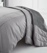 QUILTED PEARL SILVER GREY BEDSPREAD THROW OVER 200 x 230 SOFT TOUCH POLYESTER