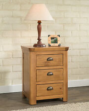 SOLID CHUNKY PINE WOOD 3 DRAWER BEDSIDE CABINET TABLE STAND UNIT