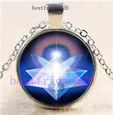 Merkabah Angel Photo Cabochon Glass Silver Chain Pendant Necklace