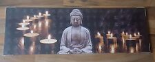 NEW BROWN CANDLELIT BUDDHA LED LIGHT FLAME CANDLE CANVAS WALL ART PICTURE BUDHA