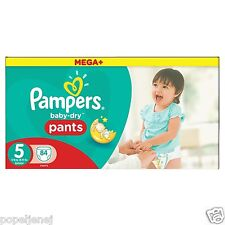 Pampers mega plus baby dry pantalon taille 5, mensuel saving pack de 84 free p&p new