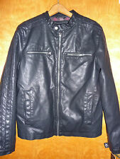 Guess Faux Leather Bomber Mens Motocross Motorcycle Plaid Lined Jacket S $195