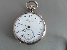 BEAUTIFUL LONGINES 2-TONE SILVER Open Faced SWISS Pocket Watch NOT WORKING AS-IS