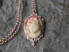 KITTY CAT ON PINK CAMEO ROSE GOLD TONE COPPER NECKLACE -UNIQUE, CAT LOVERS GIFT
