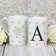 Personnalisé monogram mug initial gold spot pois fête des mères maman fille