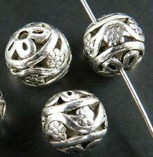 30pcs Tibetan Silver Hollow Round Ball Spacer Beads 11mm ad18345