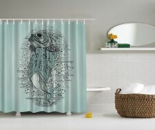 Aqua Blue Fish in Suit Fishing Gift Fabric Shower Curtain