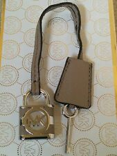 Michael Kors Logo Silver Lock & Key Charm Dark Dune Leather Strap Handbag Fob