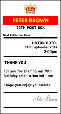 Birthday 70th sign  4' x 7.5'  royal mail insert post box Card Box