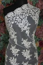 SK299 Sold by 1/2 yard Ivory french corded Lace bridal Fabric 56 Wide Scalloped