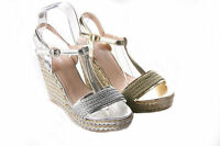 WOMENS LADIES METALIC HESSIAN HIGH PLATFORM WEDGE HEEL SUMMER SANDALS SIZES 3-8