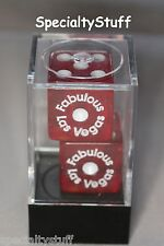 """2 NEW FABULOUS LAS VEGAS DICE BOXED 19mm RED WITH WHITE NUMBERS 3/4"""" 1-6 (EG)"""